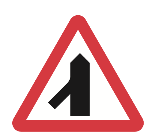 Traffic merges from the left sign