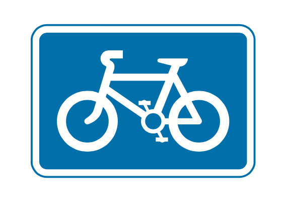 Route recommended for pedal cycles on the main carriageway