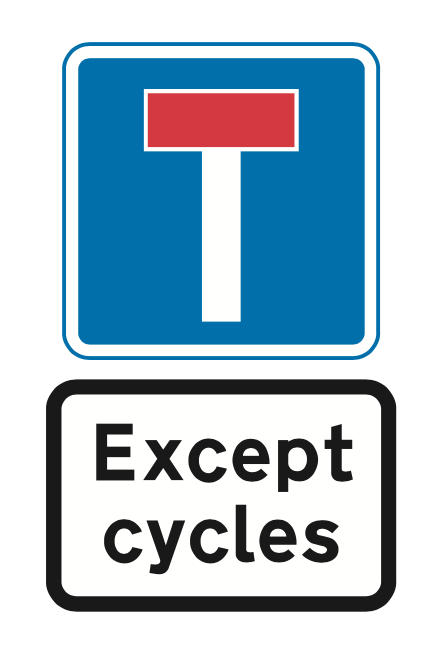 No through road except bicycles sign